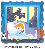 the halloween night  a little... | Shutterstock .eps vector #494164072