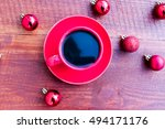 cup of coffee and christmas... | Shutterstock . vector #494171176
