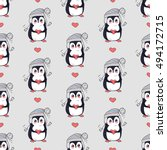 Funny Penguins Vector Seamless...