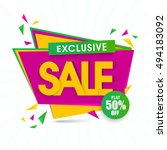 exclusive sale with flat 50 ... | Shutterstock .eps vector #494183092