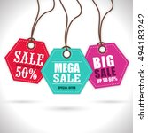 colorful hanging  sale tags ... | Shutterstock .eps vector #494183242