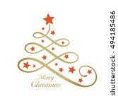 line art golden christmas tree... | Shutterstock .eps vector #494185486