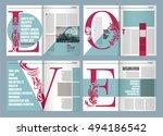 modern magazine layout template ... | Shutterstock .eps vector #494186542