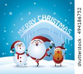 santa claus and merry christmas | Shutterstock .eps vector #494186752