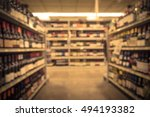 blurred image of wine shelves...   Shutterstock . vector #494193382