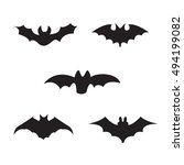 halloween black silhouettes of... | Shutterstock . vector #494199082