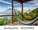 lago de atitlan with volcan san ...   Shutterstock . vector #494199802