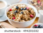 protein granola made from oat... | Shutterstock . vector #494201032
