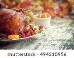 thanksgiving turkey dinner with ...   Shutterstock . vector #494210956