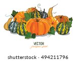 pumpkin. crop large ripe... | Shutterstock .eps vector #494211796