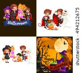 cute colorful halloween kids in ... | Shutterstock .eps vector #494212675