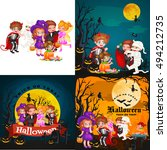 cute colorful halloween kids in ... | Shutterstock .eps vector #494212735