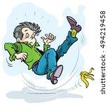 boy slip banana peel | Shutterstock .eps vector #494219458