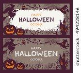 halloween banners set | Shutterstock .eps vector #494228146