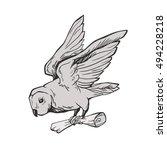 owl with letter. owl flying... | Shutterstock .eps vector #494228218