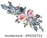 Watercolor Floral Bouquet  Pink ...