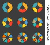 circular diagram set. pie chart ... | Shutterstock .eps vector #494233552