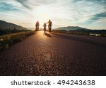 bicycle family traveling on the ... | Shutterstock . vector #494243638