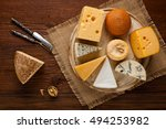 Mix Cheese On Wooden Board Wit...