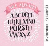 nice vector vintage alphabet...   Shutterstock .eps vector #494255485