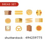 set of flat color icons. bread  ... | Shutterstock . vector #494259775