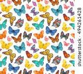 seamless texture with cute... | Shutterstock . vector #494261428