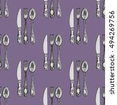 seamless pattern with knives ... | Shutterstock .eps vector #494269756
