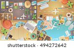 flat web banners set on the... | Shutterstock . vector #494272642