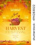 harvest festival poster.... | Shutterstock .eps vector #494283022