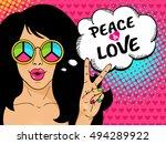 wow pop art female face. sexy... | Shutterstock .eps vector #494289922