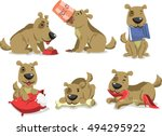 messy dog eating things vector... | Shutterstock .eps vector #494295922