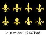 Golden Fleur De Lis Set Black...