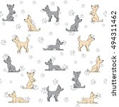 seamless pattern dog and paw... | Shutterstock .eps vector #494311462