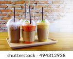 smoothies and iced coffee in... | Shutterstock . vector #494312938
