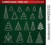 christmas tree set   Shutterstock .eps vector #494325112