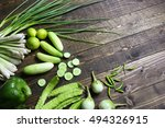 fresh organic green vegetables... | Shutterstock . vector #494326915
