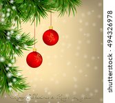 golden christmas and new year... | Shutterstock .eps vector #494326978