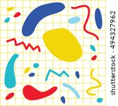 trendy geometric memphis style...   Shutterstock .eps vector #494327962