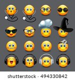 emoticons set  emoji  smiley  ... | Shutterstock .eps vector #494330842