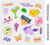 fashion patch badges. big set.... | Shutterstock .eps vector #494332666