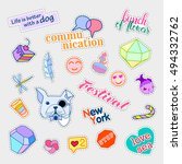 fashion patch badges. big set.... | Shutterstock .eps vector #494332762