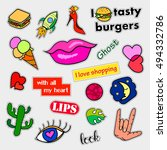 fashion patch badges. big set.... | Shutterstock .eps vector #494332786