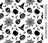halloween seamless pattern.... | Shutterstock . vector #494343202