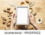 mockup of hands holding grey... | Shutterstock . vector #494345422