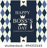 boss's day greeting card or... | Shutterstock .eps vector #494353165