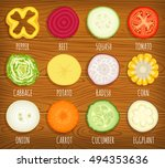 set of sliced vegetables.... | Shutterstock .eps vector #494353636