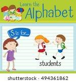 flashcard letter s is for... | Shutterstock .eps vector #494361862