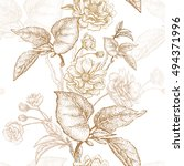 gold embroidery on a white... | Shutterstock .eps vector #494371996