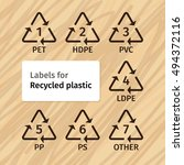 labels for recycling plastic... | Shutterstock .eps vector #494372116