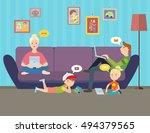 illustration of family using... | Shutterstock .eps vector #494379565